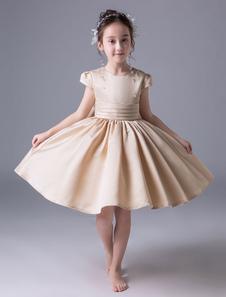 Vestidos De Niña De Flores Satinado Champagne Mangas Cortas Vestido De Princesa Plisado Longitud De La Rodilla Vestidos De Fiesta Para Niños