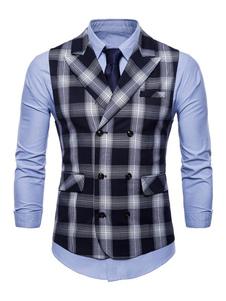 Terno de Homem 2020 Desenho Tartan Botão de Pressão de algodão misturado Casual com gola dobrada