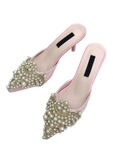 ミュール サンダル PU ピンク  ポインテッドトゥ 4cm パピーヒール シューズ パール スリップオン パーティー シック&モダン レディース靴