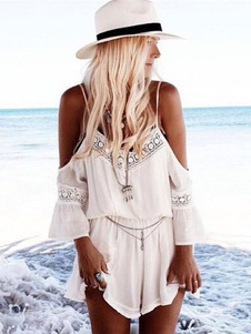 White Summer Romper Straps Lace Cold Shoulder Playsuit para mujeres