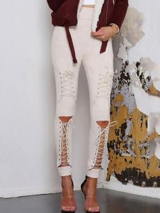 Pantalones pitillo de mujer con cordones recortes Leggings de gamuza de cintura alta