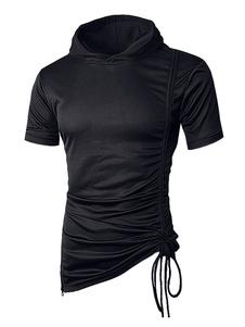 Мужская футболка с капюшоном Drawstring Ruched нерегулярная футболка с коротким рукавом