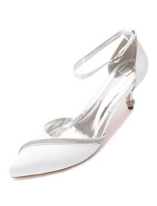 صقيل أحذية الزفاف أشار تو أحجار الراين حزام الكاحل أحذية الزفاف