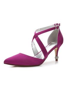 Zapatos de novia de seda y satén 7.3cm Zapatos de Fiesta Zapatos Morado de tacón de kitten Zapatos de boda de puntera puntiaguada con pedrería
