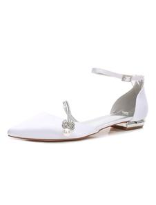 الساتان حذاء الزفاف الأبيض أحذية العروسة وأشار تو أحجار الراين المسطحة أحذية الزفاف