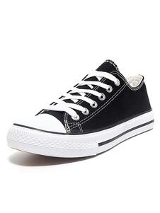 Женщины Холст обувь Черный круглый Toe зашнуровать плоские туфли повседневной обуви