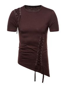 Camiseta casual de manga corta con cuello en V para hombre