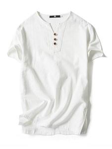 Los hombres de algodón de lino Top Plus Size T Shirt Button V cuello de manga corta camiseta casual