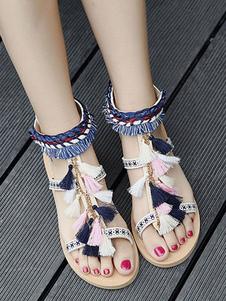 Sandali piatti da donna Boho Sandalo con cinturino alla caviglia e cinturino alla caviglia con nappe