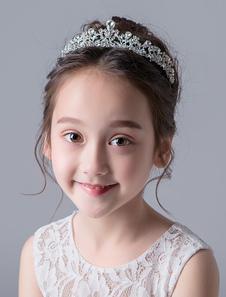 Tiara no cabelo de metal meninas 2020 Tiara acessórios prata Strass Não personalizado