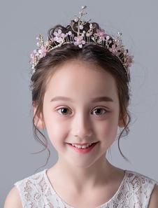 Accessori per capelli Flower Girl Soft Headpieces rosa Strass per capelli con strass per bambina