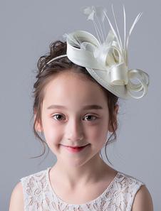 Цветочная девушка Fascinator Hat Ivory Vintage Аксессуары для волос Сатин Маленькие волосы для волос