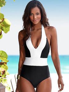 Costumi Interi donna Nero  chic & moderna bicolore Costumi da Bagno Accessori non inclusi. Abbigliamento  Donna con collo arrotondato di poliestere