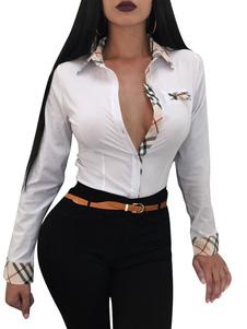 المرأة مثير قميص طويل الأكمام انتشار القطن الرقبة الأعلى عادية