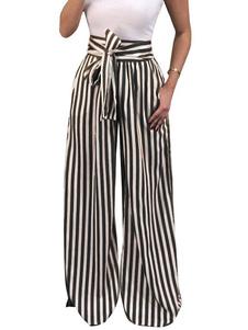 Pantalones de verano de las mujeres Pantalones de pierna ancha de cintura alta con cordón a rayas