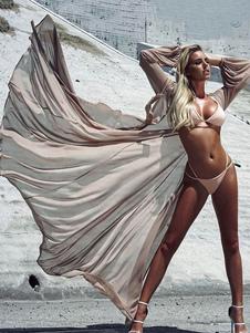 Traje de Baño 2020 Sexy Cover Up Mangas Largas Sash Sheer Tulle Playwear para mujer