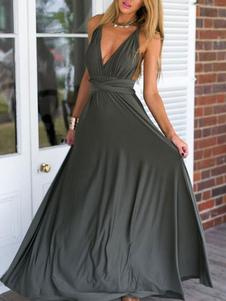 Vestido largo Gris Moda Mujer sin mangas de fibra sintética Vestidos Color liso muy escotado por detrás con cuello profundo estilo moderno Verano