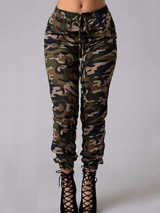 Pantalones de camuflaje de mujer Pantalones casuales de cintura elástica con cordón