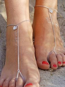 Gioiello da spiaggia per bracciali in argento con cavigliera per donna
