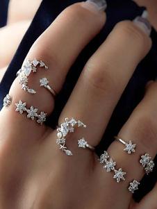 Boho Rings Set Silver Stacking Rings en 5 piezas