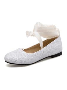 Zapatos planos de las mujeres del ballet del brillo del dedo del pie del cordón zapatos planos casuales
