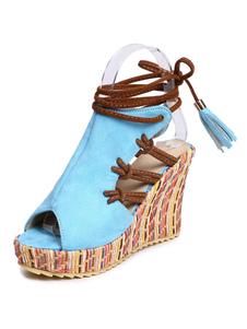 Sandali con zeppa 2020 Boho sandali plateau stringati da donna punta aperta
