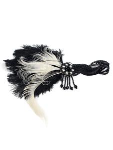 أسود الزعنفة عقال غاتسبي العظيم 1920s حلي الريشة أغطية الرأس النساء خمر الاكسسوارات هالوين 2020