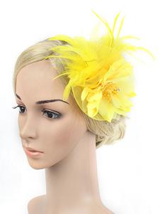 الزعنفة عقال 1920 ثانية زي غاتسبي العظيم الأصفر ريشة أغطية الرأس النساء خمر زي الاكسسوارات هالوين