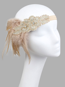 Disfraz Carnaval Tocados De Pluma De Flapper 1920S The Great Gatsby Champagne Accesorios De Disfraz Vintage De Mujer Halloween Carnaval