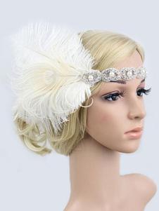 الزعنفة البيضاء 1920s زي غاتسبي العظيم أغطية الرأس ريشة النساء الاكسسوارات خمر هالوين 2020