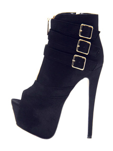 Zapatos negros y atractivos Botines de tacón alto Botines y botines de ante con plataforma peep toe con detalle de gamuza