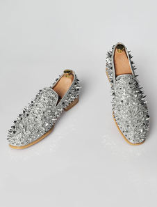 Mocassini uomo argento con paillettes a punta tonda antiscivolo Slip On Shoes Formal Shoes