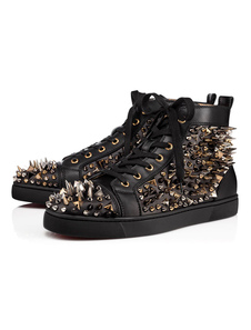 Zapatos negros de skate Hombres remaches de punta redonda Lace Up High Top Sneakers Spike Shoes