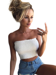 Crop Top 2020 Mulheres Strapless Ruffles Shaping Bandeau Top