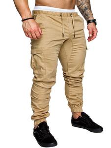 Мужские грузовые брюки с боковой картой Sweatpant Drawstring с конической дорожкой