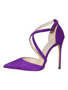 Zapatos de tacón de aguja de tacón alto Criss Cross de tacón alto de mujer