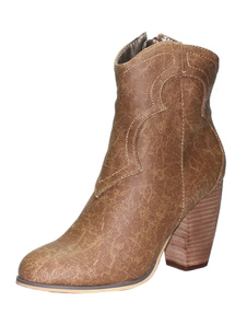 Mulheres Ankle Boots Tan Pointed Toe Cowgirl Booties Botas De Salto Alto