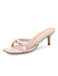 Kitten Sandalias de tacón de albaricoque Sandalias de punta anudada de punta abierta para mujer Zapatos de verano nuKScA9