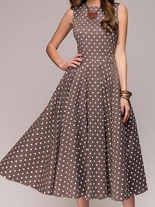 Mulheres Vestido Vintage Polka Dot Vestido Sem Mangas De Verão