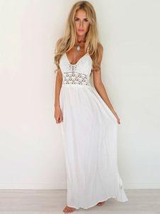 Vestido largo blanco  Moda Mujer sin mangas de chifón Vestidos de croché Color liso muy escotado por detrás con escote halter Atractiva Verano