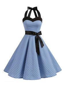Vestido de bolinhas Vintage Halter Bows Backless Retro de algodão Pin Up Dress