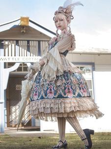 الكلاسيكية لوليتا اللباس JSK انفانتا حكاية تاون طباعة كشكش القوس الشيفون لوليتا البلوز تنورة