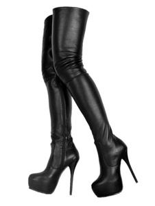 Botas altas mujer negro  botas altas negras de PU de tacón de stiletto de puntera redonda 15cm Color liso Invierno Otoño 4.5cm para baile sexy