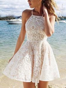 Vestido Plissado 2020 Branco Vestido Plissado De Verão Com Alças