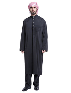 Abito da uomo arabo con colletto a maniche lunghe, abbottonatura a 2 pezzi
