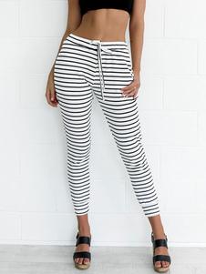 Pantalones blancos flacos rayas de las mujeres pantalones casuales