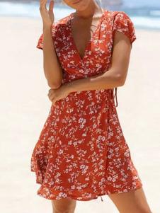 Vestido De Verão 2020 Floral Com Decote Em V Mangas Curtas Mini Vestido Em Algodão Vermelho