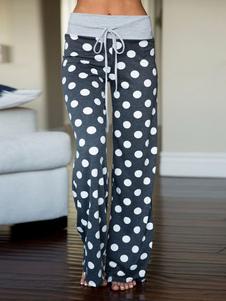 Calças de salão de pijama Mulheres Polka Dot Calças Drawstring Calças de perna reta