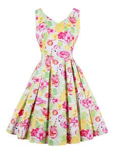 Vestido vintage sin mangas con cuello en V plisado y estampado retro de verano para mujer
