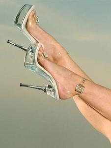 Mulheres Sexy Sandálias Transparente Aberto Toe Stiletto Heel Tira No Tornozelo Sandália Sapatos de Salto Alto Sandálias